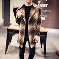 2017 más el tamaño M-5XL hombres capa de foso del invierno de terciopelo espesar cálido abrigo largo masculino moda casual slim fit foso de lana chaqueta