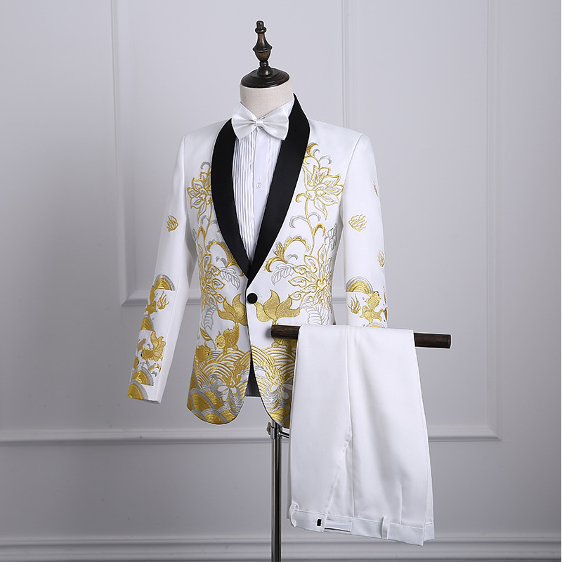 Newest 2018 Chinese Style Three Colors Jacket Pants Suit Gold Embroidery Pattern Nightclub Prom Singer Costumes S-2XL