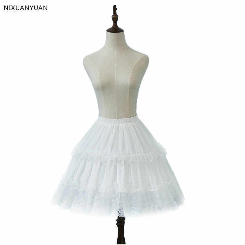 Nixuanyuan Lolita Chiffon Del Merletto Cosplay Sottoveste Sottogonna Corta Donne Nero Petticoat Accessori da Sposa 2020