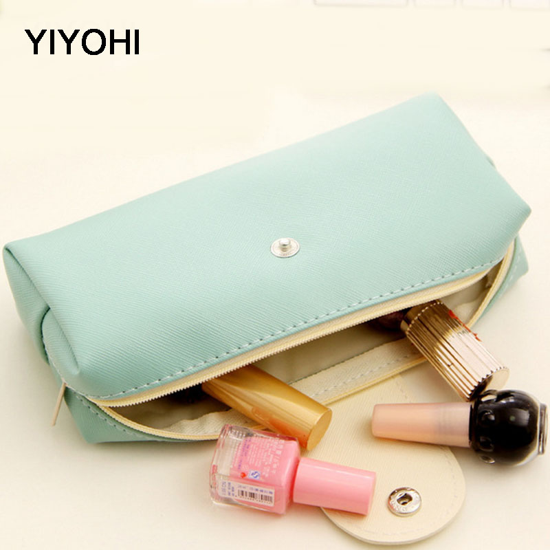 YIYOHI Cute Candy Colors Women Cosmetic Bag Beauty Zipper Travel Case Make Up Bag Letter Makeup Pouch Toiletry Organizer Holders dark mind