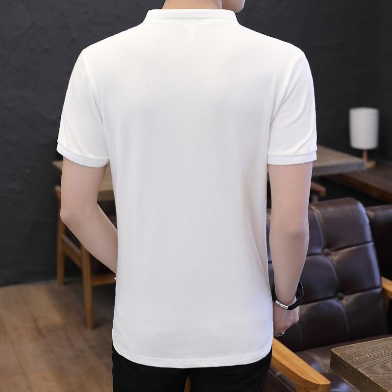 Mens Polo Shirt Summer Style Men Business Casual Solid Color Short Sleeve Polo Shirt Slim Cotton Polo Shirt Men Fake Pocket 2