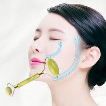 Ролик для лица, нефрит для массажа, ролик с двойной головкой, инструмент для похудения лица, массажер для лифтинга лица для женщин, Прямая поставка