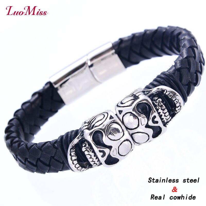 Double Skull skeleton Stainless Steel Magnet Bracele jewelry Bangles Black Cowhide Rope Charm Bracelets for Women Men