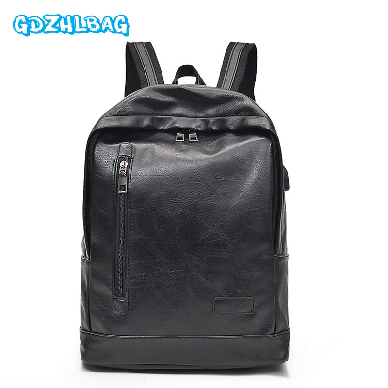 Men Backpack External USB Charge Anti theft School Bag PU Leather Travel Bag Women Casual Bagpack 14 Inch Laptop Rucksack B289