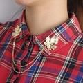Vintage Maple Leaf Brooches Tassel Collar Shirt Brooch Pins Fashion Jewelry Collar Clip 4B1003
