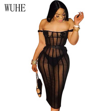 WUHE Off Shoulder Sheer Mesh Sexy Summer Party Dress Women Strapless Black See Through Backless Bodycon Bandage Club