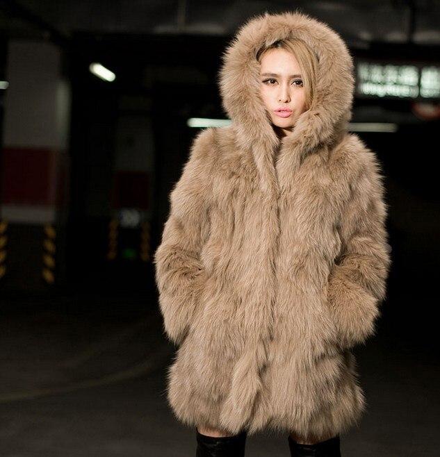 online shop women plus size faux fur special slim long fuax fur