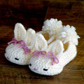Crochet Baby shoes, Ballet Flats, Baby shoes, Custom baby shoes, fashion baby,Round Bunny House Slippers