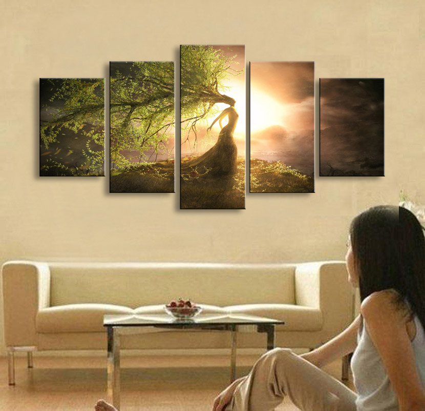 5 pieces high definition print Fantasy art Pixelate canvas painting ...
