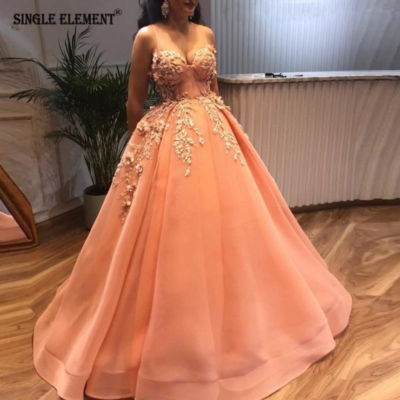 SINGLE ELEMENT Pink Prom Dresses Vestidos De Fiesta 2019 Ball Gown 3D Flower(China)