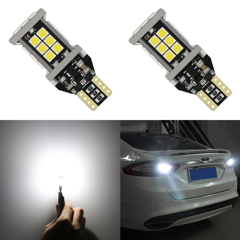 2 Pcs 1200 Lumens Bright Error Canbus Extremely Bright 3030 SMD T15 912 W16W 921 LED Bulbs For Backup Reverse Lights Xenon White 2pcs brand new high quality superb error free 5050 smd 360 degrees led backup reverse light bulbs t15 for skoda rapid page 1