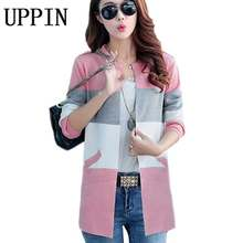 UPPIN 2017 Spring Autumn New Long Coat Sweater Coat Korean Fashion Was Thin Loose Knit Cardigan Women Women Cardigan Sweater(China)