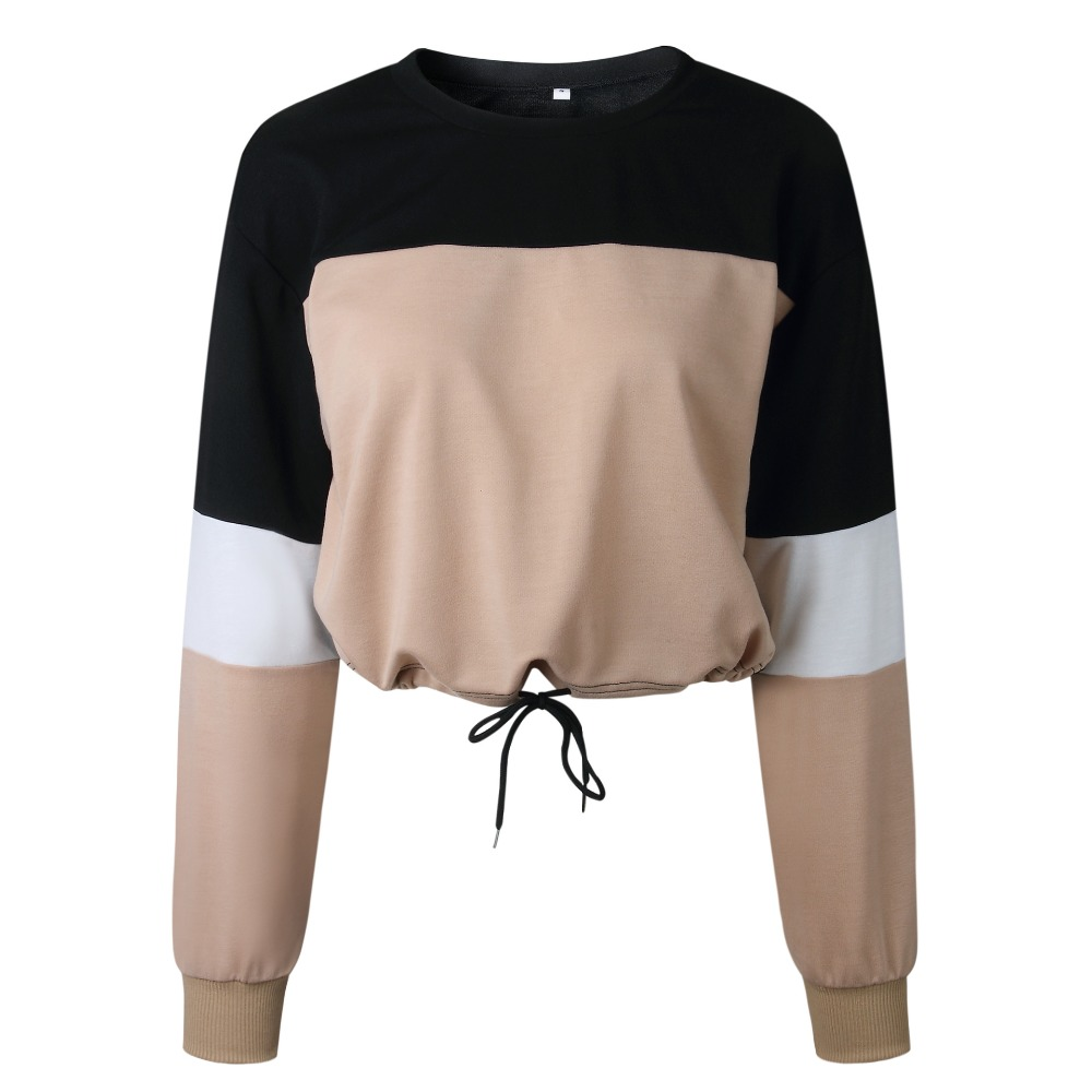2018 best seller Patchwork Loose Crop Top Women Long Sleeve Khaki Kpop Tumblr Pullover poleron mujer