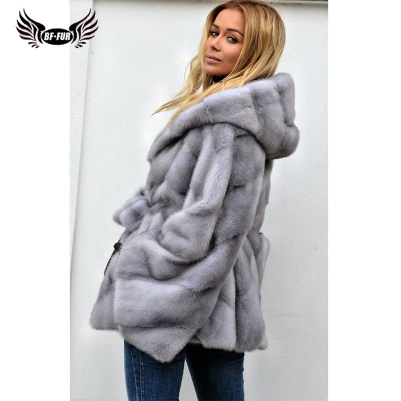 BFFUR 2019 New Real Models Mink Fur Coat Women Jacket Winter Warm Casual Female Clothing Lady Fur Coats Park With Natural Fur