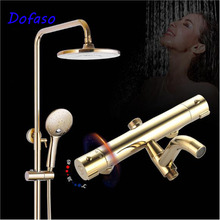 Dofaso quality brass Thermostatic Shower Faucets Suite 38 degree Bathroom Mixing Valve Thermostatic Shower Faucet Golden недорого