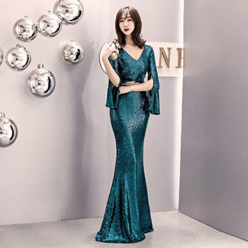 Beauty Green Evening Dresses 2019 Long Sequins for Women Zipper Formal Party Prom Dresses Reflective dress