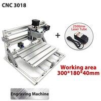3018 3 축 미니 DIY CNC 라우터 w/ 2500mW 레이저 모듈 나무 조각 절단 밀링 조각사 기계