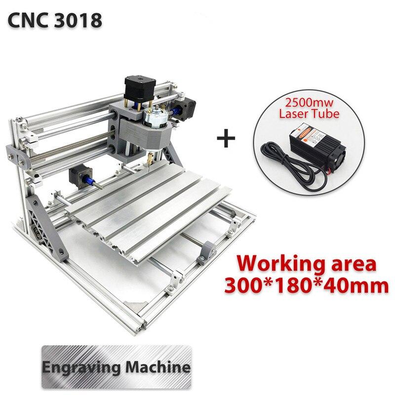 3018 3 achse Mini DIY CNC Router w/2500 mW Laser Modul Holz Gravur Schneiden Fräsen Stecher Maschine