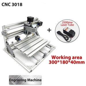 Image 1 - 3018 3 軸ミニdiy cncルータw/ 2500 1000mwレーザーモジュール木の彫刻、切削フライス彫刻機