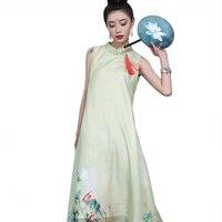 الأخضر اليوسفي طوق مطبوعة زهرة طويل الحديثة شيونغسام الصيف تشيباو الصينية خمر النساء اللباس مثير العرقية سطر L-XXL