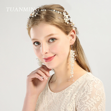 TUANMING 3PCS/Set Crystal Pearl Wedding Hair Jewelry for Bride New Fashion Headbands Set for Women Tiara Hair Accessories