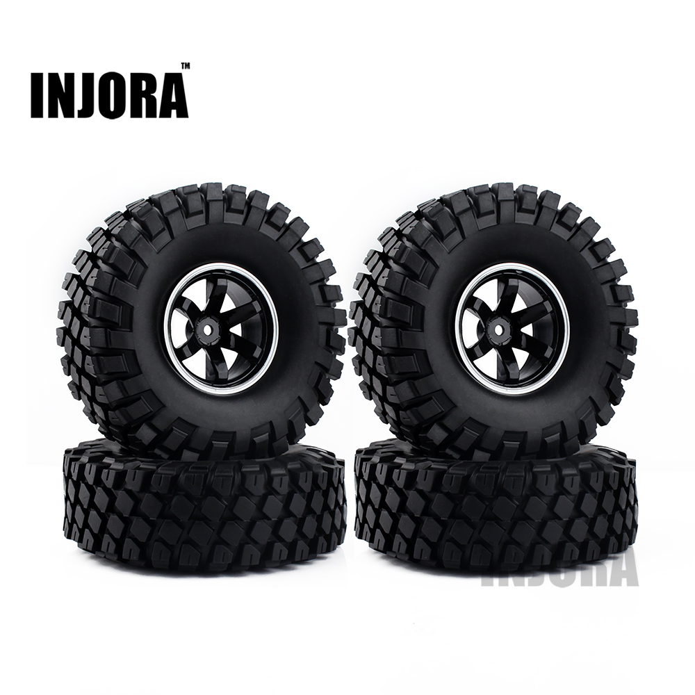 1.9 Rubber Tires Wheel Rim Set for 1/10 RC Crawler Axial SCX10 Tamiya CC01 RC4WD D90 D110 TF2 RC Car Tyre Parts 4pcs rc crawler truck 1 9 inch rubber tires