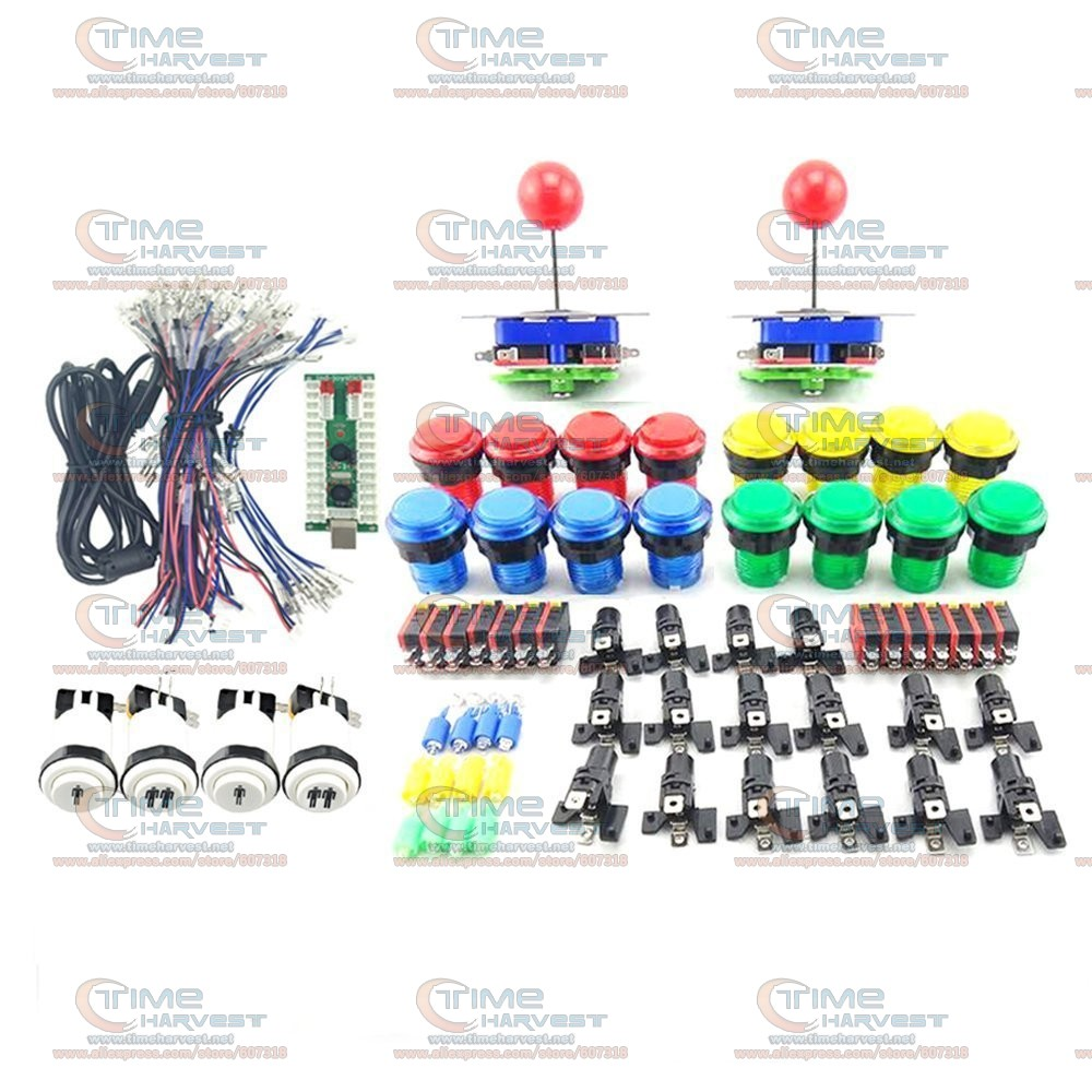 Arcade Joystick DIY Kits with 2Players USB LED Encoder Long shaft Joystick Controller LED Illuminated Push Button for Game MAME easyget arcade diy kits parts usb encoder 2 4 8 way joystick 10 x led illuminated push button for mame games