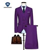 3 piece Slim Fit רויאל בלו חתונת חתן סט החליפה של גברים חליפה עם מכנסיים גברים עסקי פורמליות שמלת חליפת טוקסידו מקטורן ערב