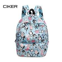 Ciker милый кот печати рюкзак женщин, детей школьный Mochilas Досуг корейский рюкзак для ноутбука дорожные сумки для девочек-подростков