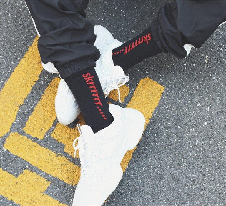 Tide brand ulzzang Harajuku leisure port wind skrrrrr   socks   Hip-hop tube cotton men women skateboard long   sock   unisex Calcetines