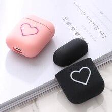 Funda para Airpods 2 1 Love Heart PC Bluetooth funda protectora de auriculares inalámbrica para Apple Airpods Air pod caja de carga lindo caso