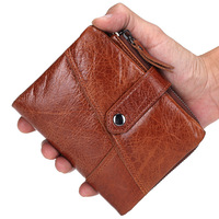 Cowhide Male Wallet Mini Men Small Wallets Genuine Leather Man Zipper Coin Purse Short Tri folded Notecase PR089081