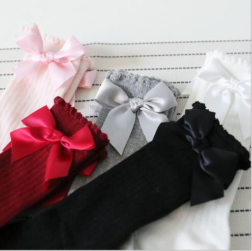 2018 New girls stockings cotton children bow bubble kids pure color sweet stockings