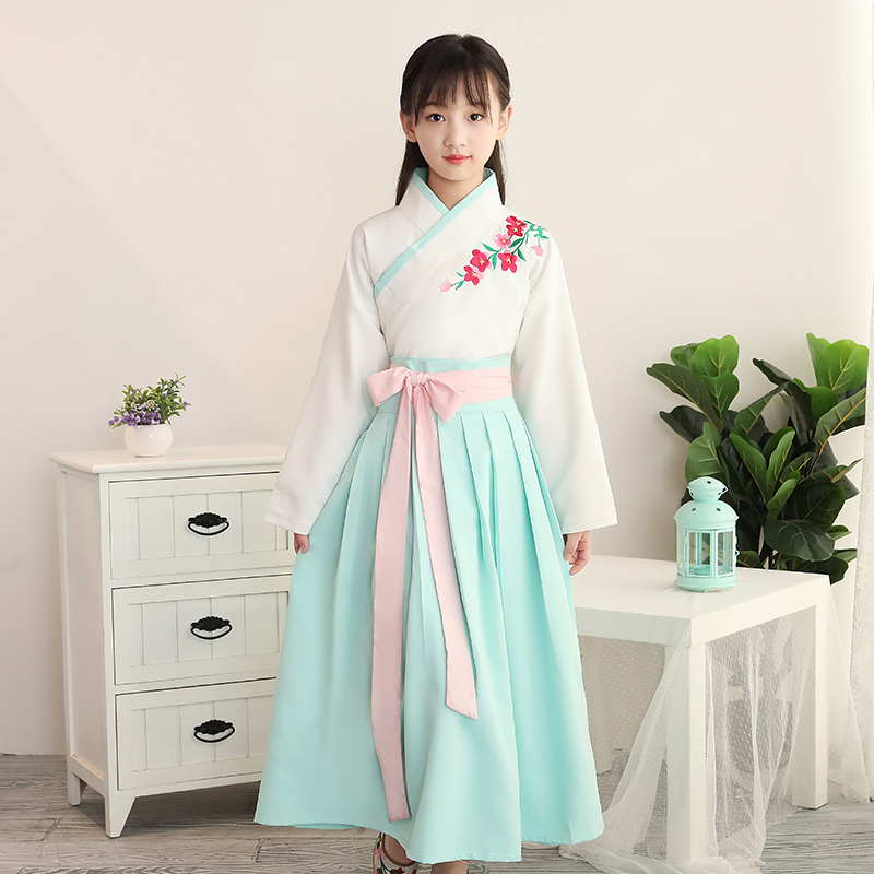 2018 spring halloween costume for kids traditional chinese dance dress ancient costume hanfu for girls kids child hanfu dresses kids tiger polyester costume for halloween yellow