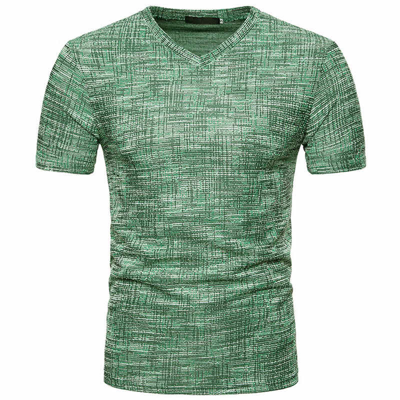 Fashion Pria T Shirt Musim Panas Olahraga Top Top Tees Pakaian Pria Lengan Pendek Kasual V Leher Kapas Pusat Tshirt Pakaian Olah Raga m-XXL