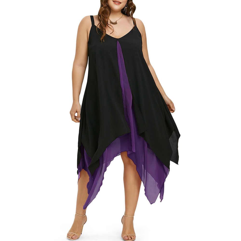 b5be9d80656 Wipalo Plus Size Handkerchief Hem Flyaway Dress Women Summer Chiffon Dress V -Neck Sleeveless Vestidos