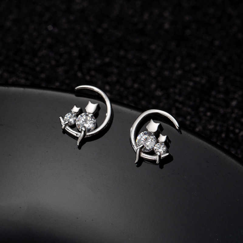 100% Real Pure 925 Sterling Silver Earrings Moom Cubic Zirconia Cats Stud Earrings For Women Korean Earrings New Fashion Jewelry