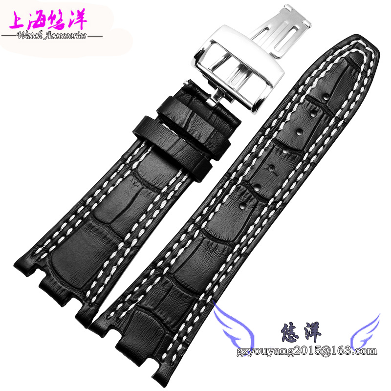 Watch band 28mm New Men High Quality Genuine Leather Watchbands Strap With Rose Gold Deployment Steel