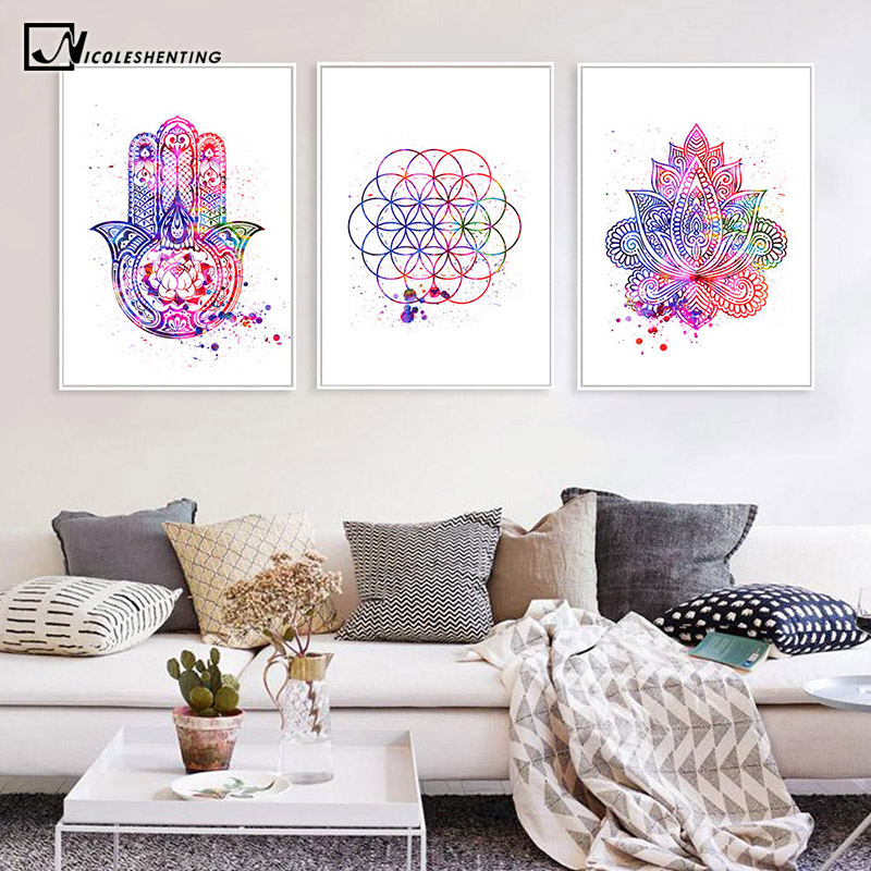 Hamsa Life Of Flower Yoga Canvas Art Poster Abstract Decorative Print Wall Painting Decoration Picture Nordic Modern Room Decor