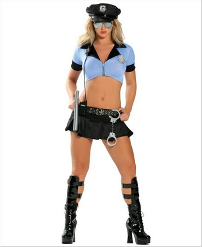 Halloween Women Blue Sexy Police Cop Costume Night Club Outfit