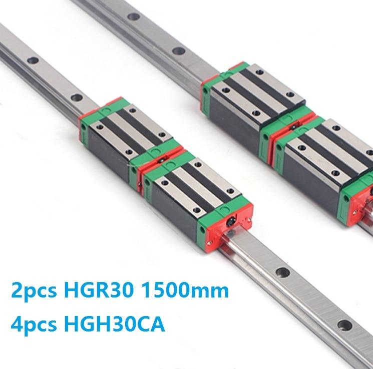 China Made 2pcs Linear Guide Rail HGR30 -L 1500MM + 4pcs HGH30CA Or HGW30CC Slide Block CarriageChina Made 2pcs Linear Guide Rail HGR30 -L 1500MM + 4pcs HGH30CA Or HGW30CC Slide Block Carriage