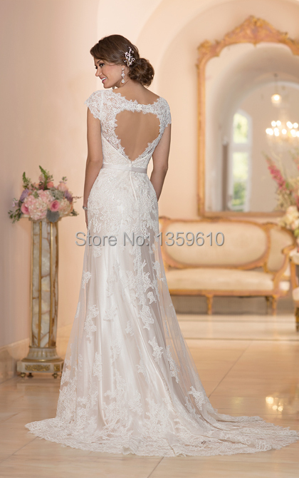 2017 New Design A Line V Neck Lace Satin Wedding Dress Back Heart Hole Cut Out Bridal Gown With Ribbons In Dresses From Weddings Events On
