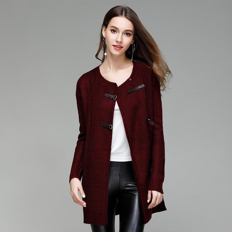 JOGTUME jesenski zimski pleteni džemper za žene Modna kožna kopča - Ženska odjeća - Foto 4