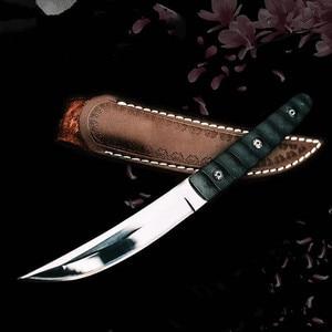 Image 3 - سكين عسكري تكتيكي ثابت لصيد البلدي في الخارج سكاكين نجاة على قيد الحياة سكين صيد برية للتخييم سكاكين + غمد جلدي