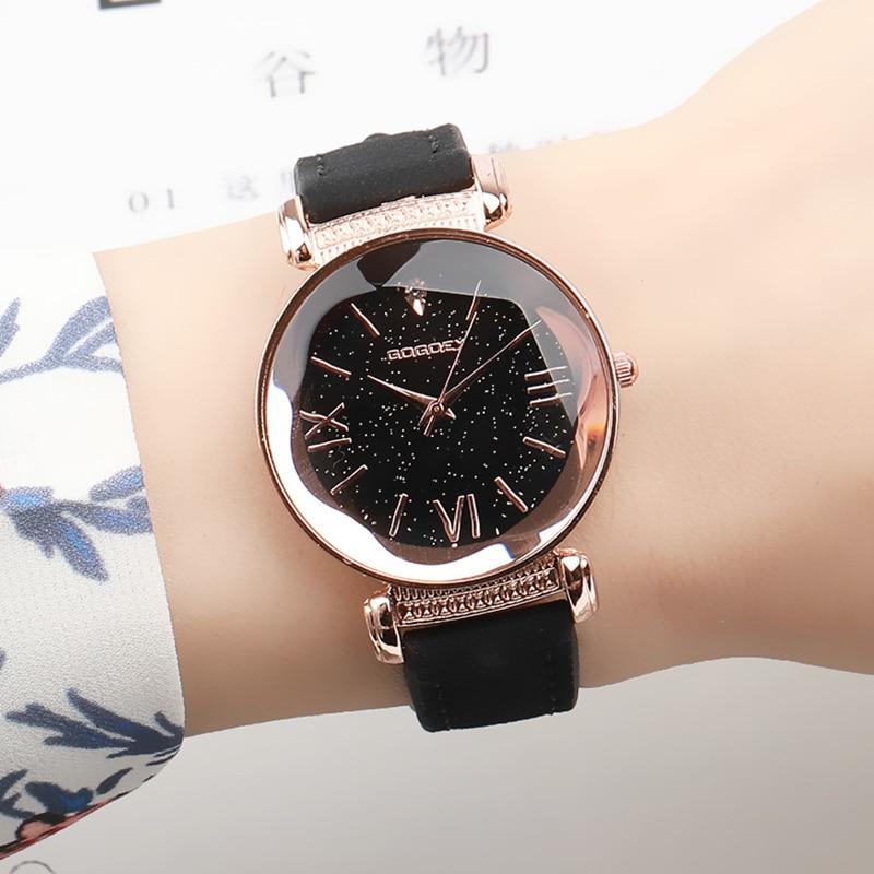 Rose Gold Star Dial Design Leather Strap Quartz Watch 2