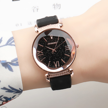 Exquisite Luxury Women Watches Fashion Dress Ladies Watch Rose gold Starry Sky Dial Leather Strap Quartz Wristwatch Clock Women