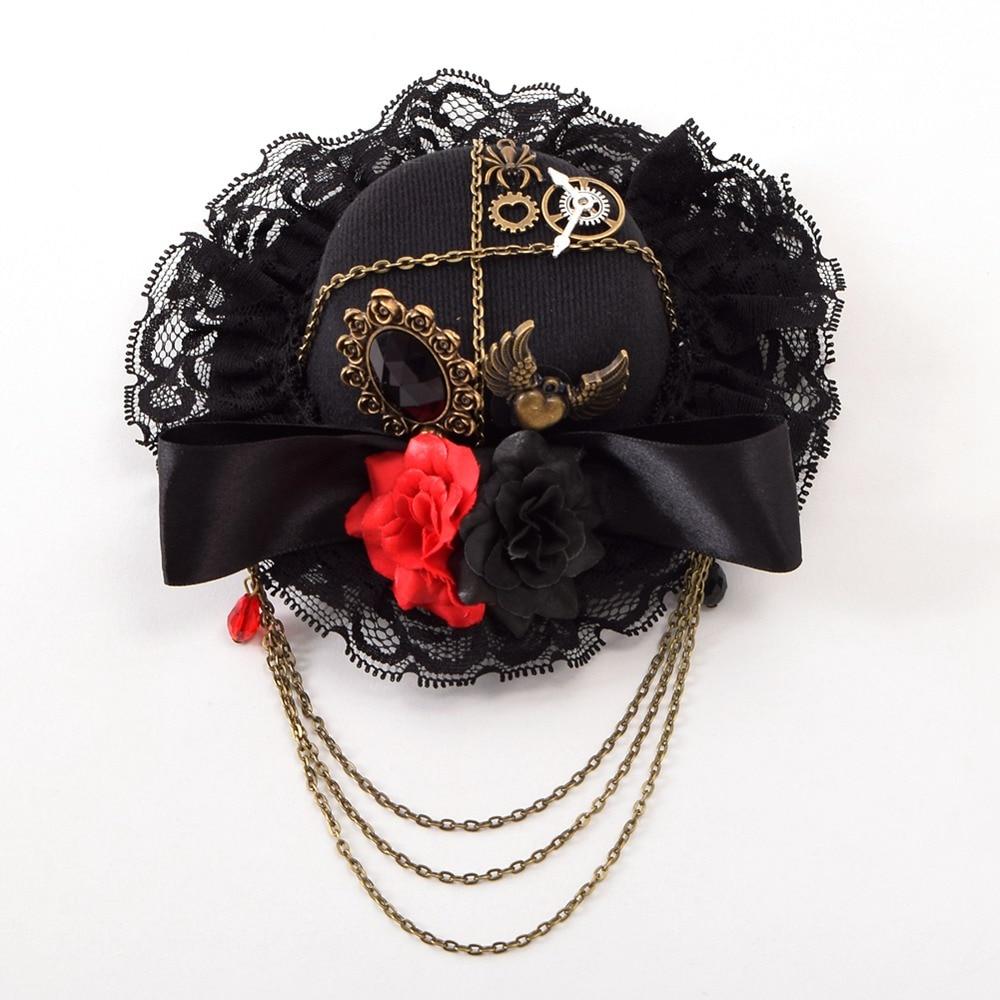 Black bow hair accessories - Lolita Girl Floral Gear Heart Pattern Black Bow
