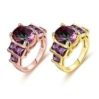Najwyższa Jakość New Fashion Niebieski Zielony AAA multi color kryształ 18 k złota biżuteria detaliczna pierścień dla kobiet rozmiar 8-10 Wedding Finger Pierścionki