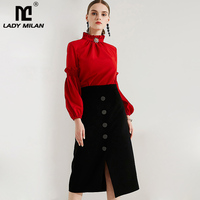 New Arrival 2018 Women's Stand Collar Ruffles Long Sleeves Blouse with Black Pencil Skirt Fashion Designer Two Piece Dresses