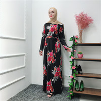 Muslim Floral Abaya Full Dresses Oman Kimono Long Robe Tunic Middle East Ramadan Arab Abayas for Women in Dubai Islamic Clothing